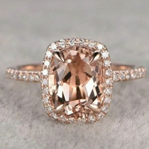 Oval Princess Morganite Halo 18K Rose Gold Ring